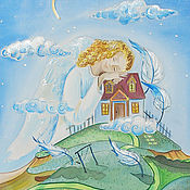 Картины и панно ручной работы. Ярмарка Мастеров - ручная работа Оберегающий-картина на шелке с ангелом. Handmade.