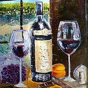Картины и панно handmade. Livemaster - original item Painting Wine still life, wine and fruit Oil, palette knife. Handmade.