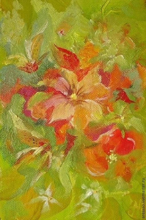 """Картины цветов ручной работы. Ярмарка Мастеров - ручная работа. Купить Картина-миниатюра """"Лето"""". Handmade. Разноцветный, подарок"""