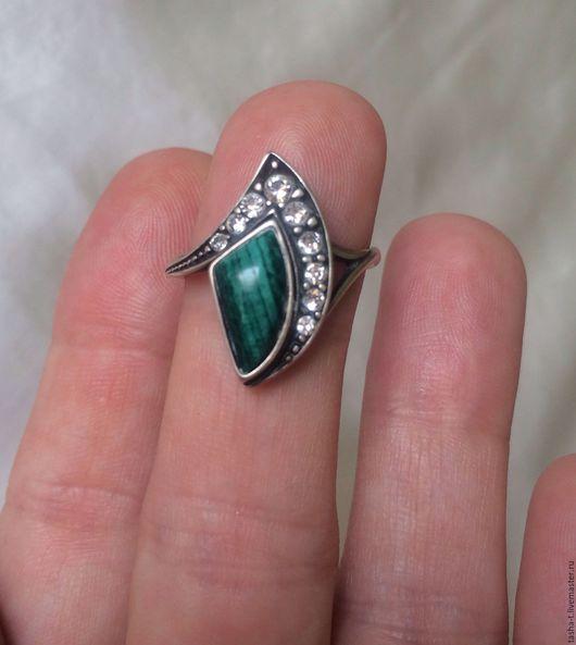 Винтажные украшения. Ярмарка Мастеров - ручная работа. Купить Винтажное серебряное кольцо. Handmade. Тёмно-синий, винтажное кольцо, малахит