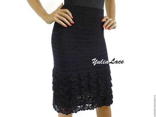 Юбки ручной работы. Ярмарка Мастеров - ручная работа. Купить Вязаная юбка черная. Handmade. Черный, юбка вязаная