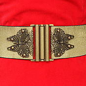 Аксессуары handmade. Livemaster - original item Belt-elastic band Butterfly 1 Golden, it is possible to hire (rent). Handmade.