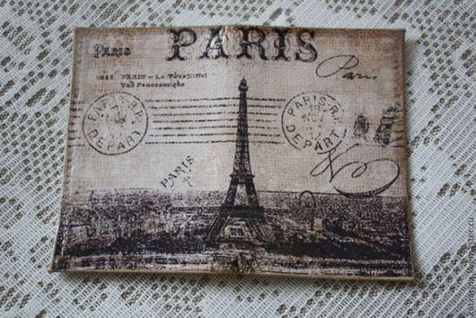 """Обложки ручной работы. Ярмарка Мастеров - ручная работа. Купить Обложка на карточки """"Paris"""". Handmade. Бежевый, подарок на любой случай"""