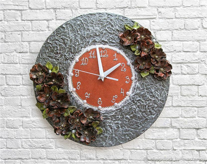 wall clock, clock for interior, interior clock, clock with flowers wall clock flowers kitchen clock, clock for the kitchen, the clock in the bedroom,clock for home, round-the-clock, buy clock, clock,