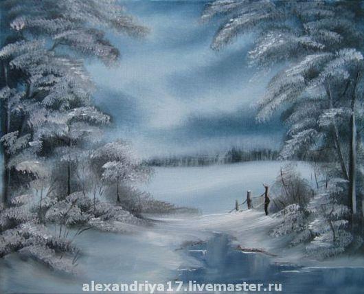 Пейзаж ручной работы. Ярмарка Мастеров - ручная работа. Купить Картина «Серебро». Handmade. Зима, мороз, голубой, Тишина, спокойствие