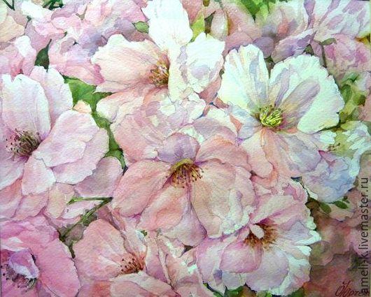 Пейзаж ручной работы. Ярмарка Мастеров - ручная работа. Купить Сакура цветёт. Handmade. Весна, акварельные цветы