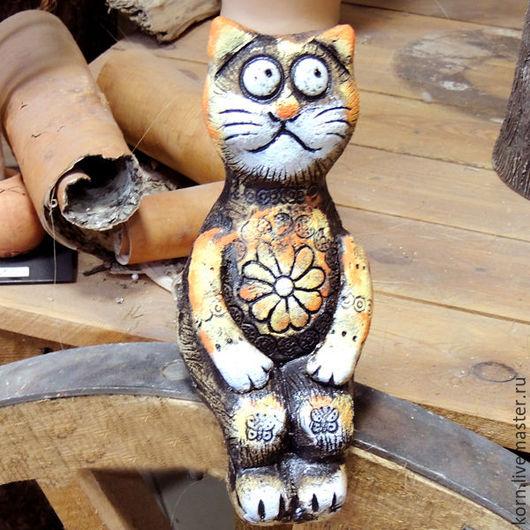 """Статуэтки ручной работы. Ярмарка Мастеров - ручная работа. Купить Кот """"Майкл"""". Handmade. Оранжевый, кот, шамот, подарок, для интерьера"""