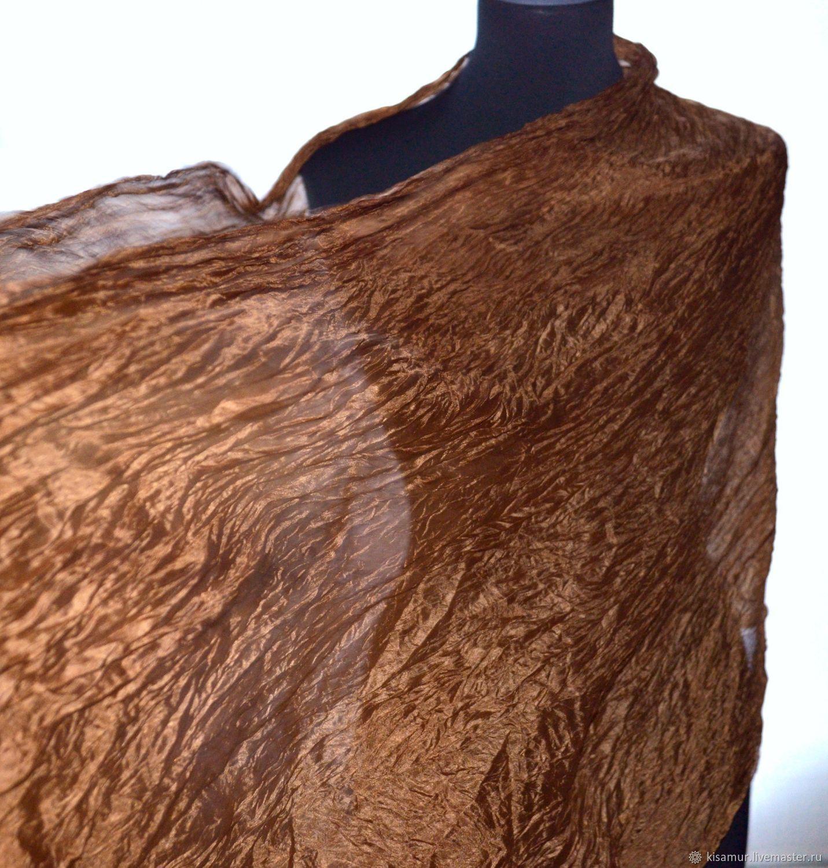 Silk scarf light brown long wide scarf stole, Scarves, Vyazma,  Фото №1