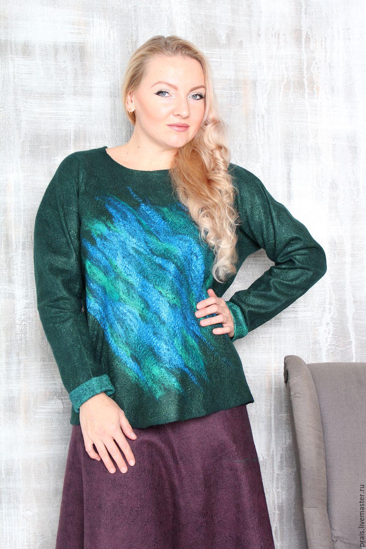 """авторский валяный свитер, свитшот """"Emerald lagoon"""", Свитеры, Новосибирск, Фото №1"""