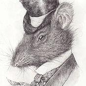 Картины и панно ручной работы. Ярмарка Мастеров - ручная работа Крыс. (в частной коллекции). Handmade.