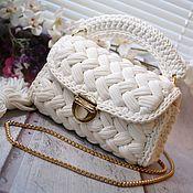 Классическая сумка ручной работы. Ярмарка Мастеров - ручная работа Вязаная женская сумка из трикотажной пряжи Пломбир. Handmade.