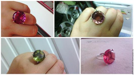 Кольца ручной работы. Ярмарка Мастеров - ручная работа. Купить Серебряное кольцо с круглым султанитом. Handmade. Комбинированный, круглый султанит