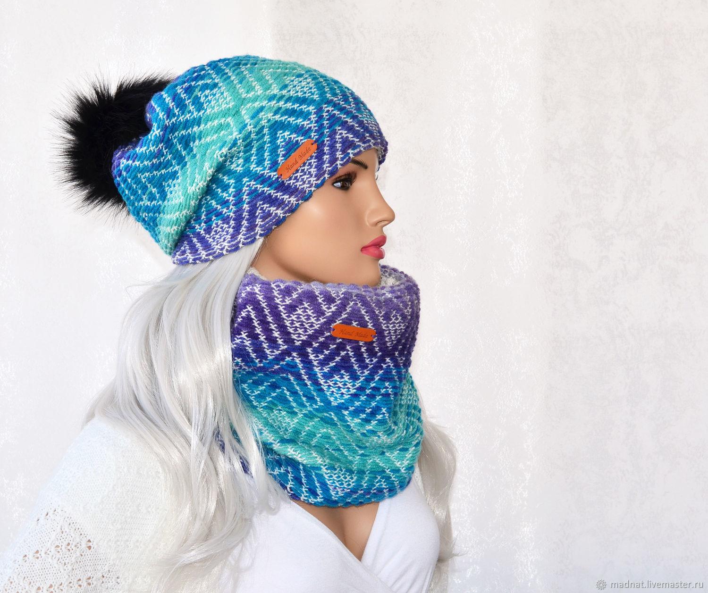 Set winter 'Ocean' double women's hat Snood, Headwear Sets, Moscow,  Фото №1