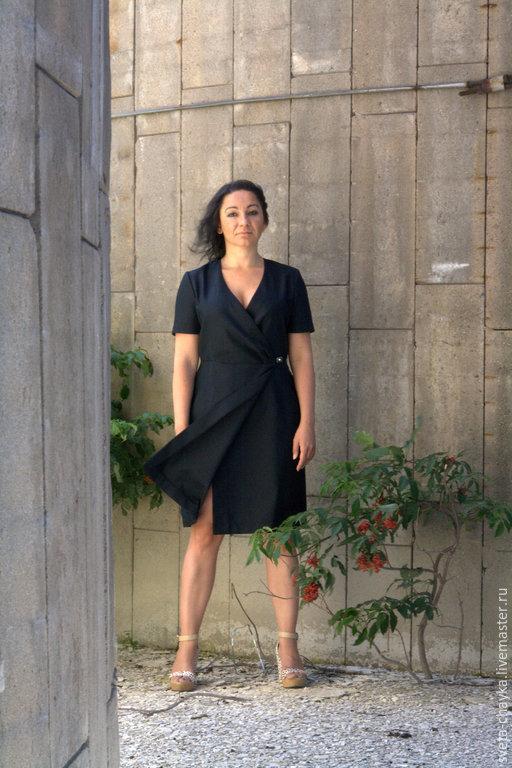 Платья ручной работы. Ярмарка Мастеров - ручная работа. Купить Платье с запахом платье платье чёрное платье. Handmade. Черный