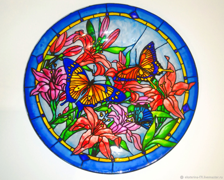 """Тарелка с витражной росписью """"Бабочки в цветах"""", Тарелки, Тула,  Фото №1"""
