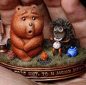 Мини фигурки и статуэтки ручной работы. Ярмарка Мастеров - ручная работа Ёжик и Медвежонок. Handmade.