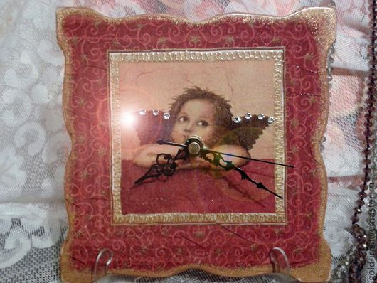"""Часы для дома ручной работы. Ярмарка Мастеров - ручная работа. Купить Часы """"Ангелочек"""". Handmade. Часы настенные, декупаж работы"""