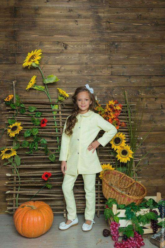Одежда для девочек, ручной работы. Ярмарка Мастеров - ручная работа. Купить Элегантное желтое пальто с брюками. Handmade. Желтый, брюки
