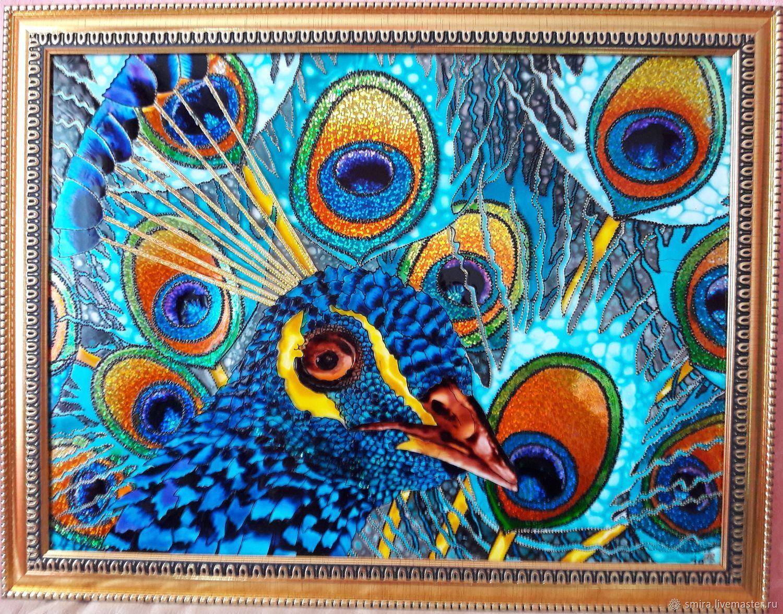 ручной работы. Ярмарка Мастеров - ручная работа. Купить Павлин. Handmade. Витраж, панно на стену, витражная роспись стекла