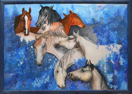 Люди, ручной работы. Ярмарка Мастеров - ручная работа. Купить лошади в сирени. Handmade. Шёлк, краски по шёлку, краски
