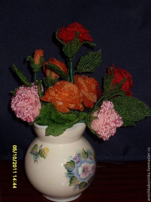 Персональные подарки ручной работы. Ярмарка Мастеров - ручная работа. Купить Роза кустовая из бисера. Handmade. Цветы, королева цветов