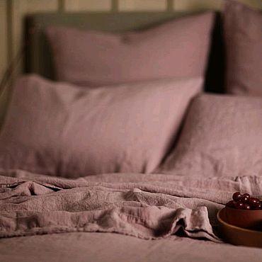 Для дома и интерьера ручной работы. Ярмарка Мастеров - ручная работа Постельное льняное белье розовое  пыльная роза  умягченный лен. Handmade.
