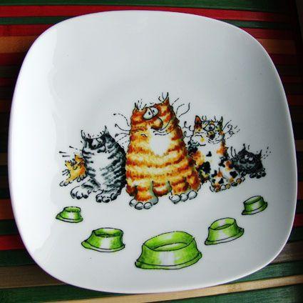 Тарелки ручной работы. Ярмарка Мастеров - ручная работа. Купить Тарелка и кружка Коты-5. Handmade. Кот, котик, забавный