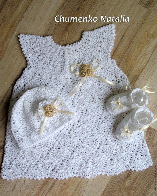 Одежда для девочек, ручной работы. Ярмарка Мастеров - ручная работа. Купить Праздничное, крестильное платье для девочки. Handmade. Белый, пинетки