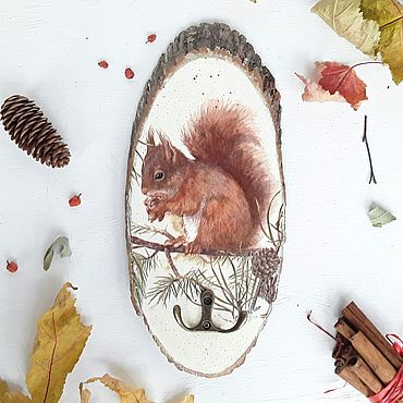For home and interior handmade. Livemaster - original item Housekeeper on a tree cut with a squirrel. Handmade.