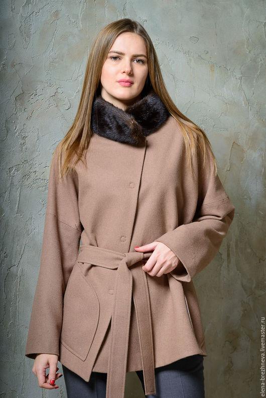 Верхняя одежда ручной работы. Ярмарка Мастеров - ручная работа. Купить П/пальто женское с воротником из норки. Handmade. Бежевый