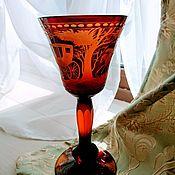 Винтаж ручной работы. Ярмарка Мастеров - ручная работа Фужер янтарное двойное стекло. Handmade.