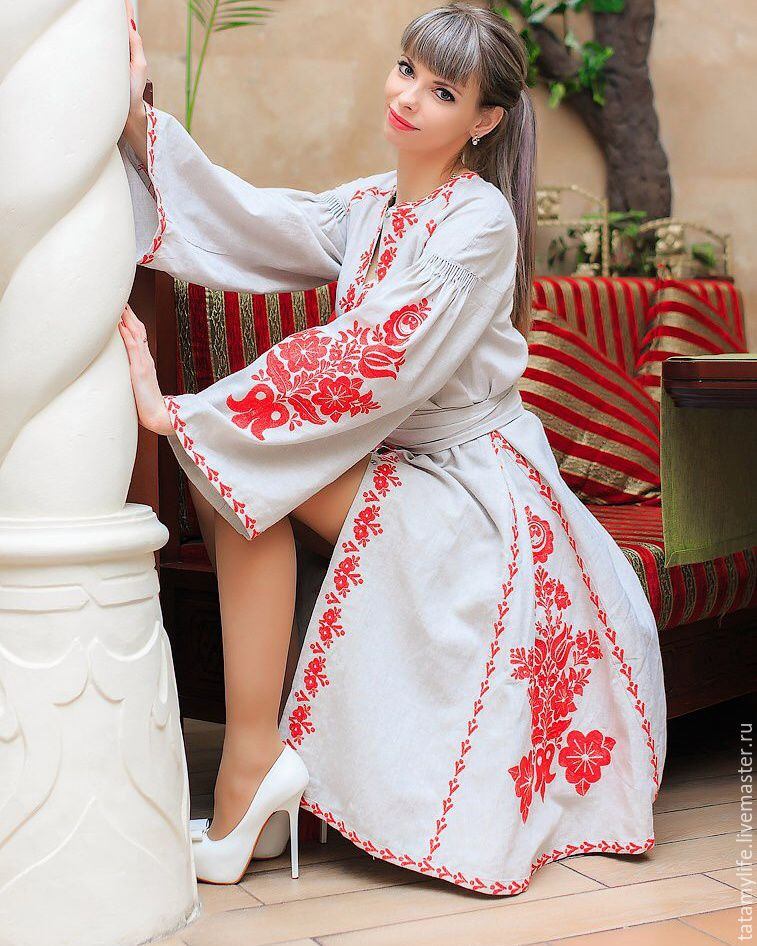 Embroidered linen dress for wedding, People\\\'s shirts, Anapa,  Фото №1
