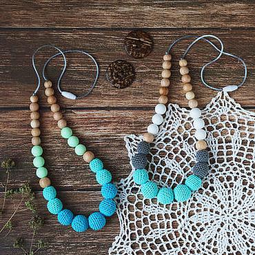 Одежда ручной работы. Ярмарка Мастеров - ручная работа Слингобусы с силиконовыми, можжевеловыми и обвязаными бусинами. Handmade.