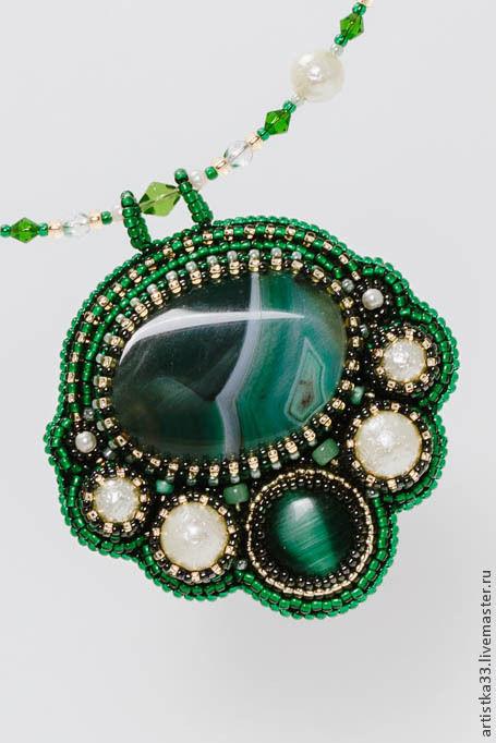 """Кулоны, подвески ручной работы. Ярмарка Мастеров - ручная работа. Купить Кулон """"Анахата"""". Handmade. Тёмно-зелёный, зеленый, кабошон"""