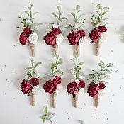 Бутоньерки ручной работы. Ярмарка Мастеров - ручная работа Бутоньерка свадебная - Burgundy wedding. Handmade.