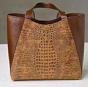 Сумки и аксессуары ручной работы. Ярмарка Мастеров - ручная работа кожаная женская комбинированная сумка под рептилию. Handmade.