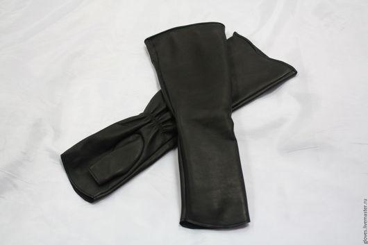 Варежки, митенки, перчатки ручной работы. Ярмарка Мастеров - ручная работа. Купить Митенки удлиненные кожаные без подкладки (рукав). Handmade.