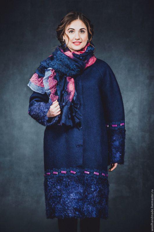 Верхняя одежда ручной работы. Ярмарка Мастеров - ручная работа. Купить Пальто кокон из шерсти Темная ночь. Handmade. флис