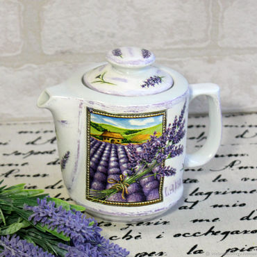 Tableware handmade. Livemaster - original item Kettle a field of Lavender decoupage. Handmade.