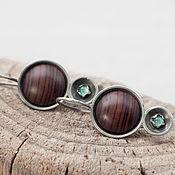 Украшения handmade. Livemaster - original item Earrings made of silver, wood (Cocobolo) and chrysoprase. Handmade.