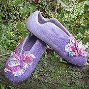 """Обувь ручной работы. Ярмарка Мастеров - ручная работа Тапочки валяные """"Сиреневый уют"""". Handmade."""