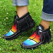 """Обувь ручной работы. Ярмарка Мастеров - ручная работа Черные кожаные ботиночки """"Black Serape"""". Handmade."""