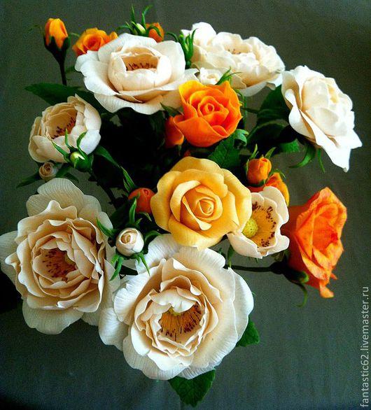 Цветы ручной работы. Ярмарка Мастеров - ручная работа. Купить Чайные розы.. Handmade. Полимерная глина, цветы из полимерной глины