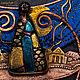 Яркое, немного театральное, волшебное петербургское колье в смешанной технике из меди, латуни, шелка, дихроического стекла ручной работы, японского бисера и лэмпворк.
