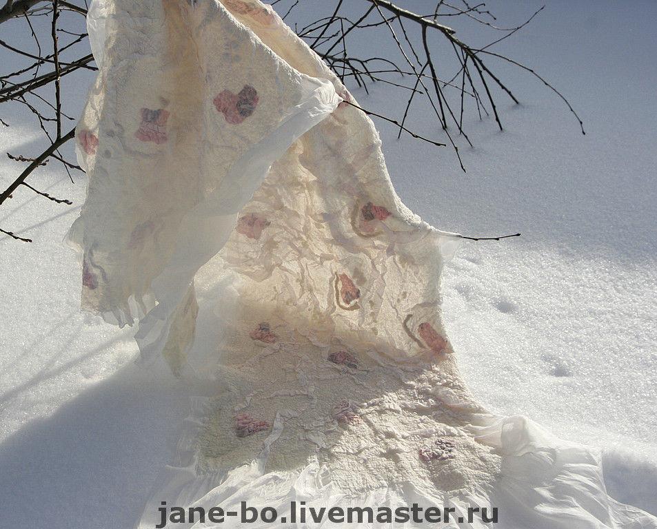 """Палантин """"Благородный белый"""", нуно-войлок, Палантины, Москва,  Фото №1"""