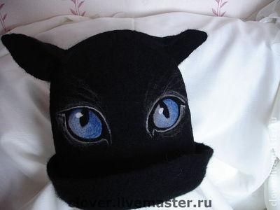 """Банные принадлежности ручной работы. Ярмарка Мастеров - ручная работа. Купить Шапка для бани """"Черная кошка, белый кот"""". Handmade."""