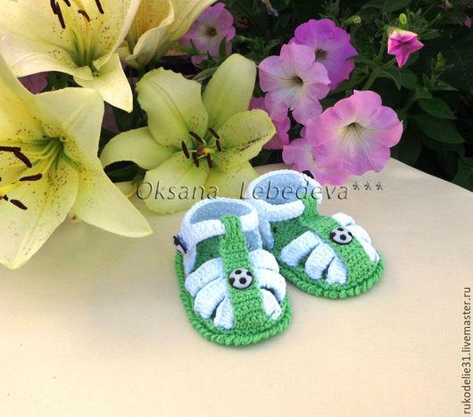 Для новорожденных, ручной работы. Ярмарка Мастеров - ручная работа. Купить Пинетки сандалии летние из хлопка вязаные крючком Футбол и Флора. Handmade.