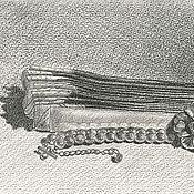 """Картины и панно ручной работы. Ярмарка Мастеров - ручная работа """"Сложенный веер с бусами"""". Handmade."""