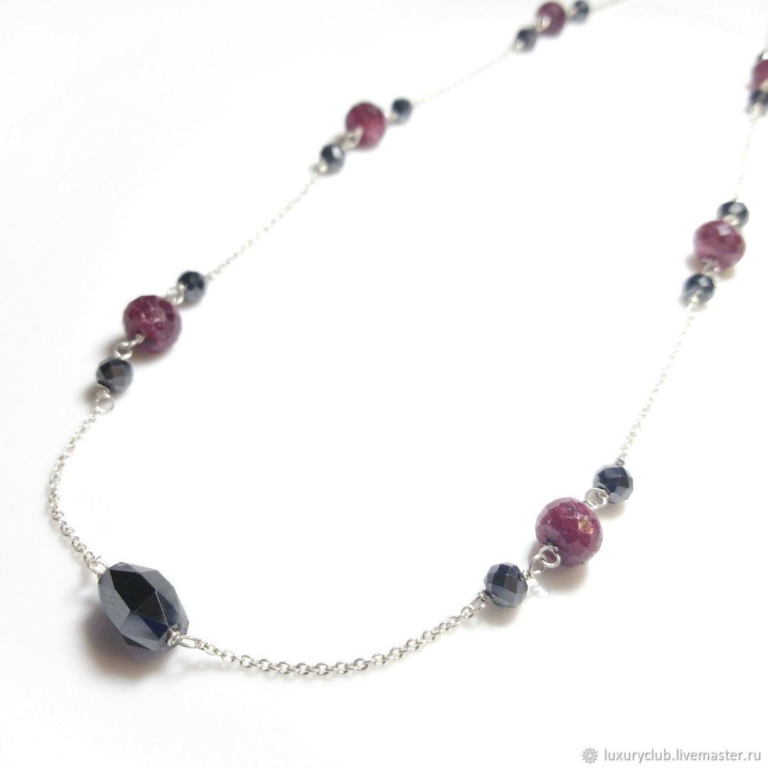 Necklace with diamonds and rubies 'Cranberries in chocolate' buy, Chain, Tolyatti,  Фото №1