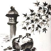 """Картины и панно ручной работы. Ярмарка Мастеров - ручная работа Картина в технике суми-э """"Японская осень"""". Handmade."""